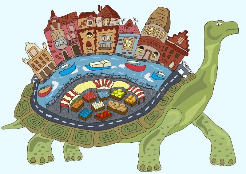 Cidade da tartaruga na parte de trás de um conto de fadas ilustração do vetor