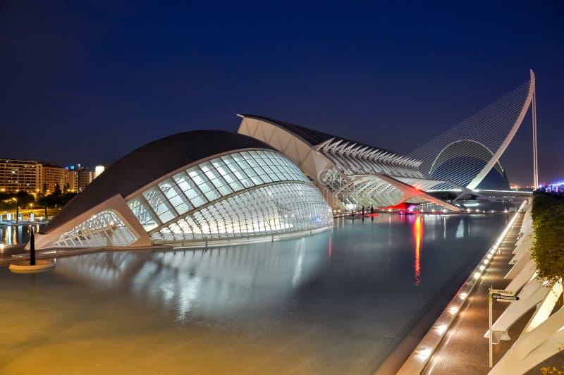 Cidade das artes e das ciências na noite, Valência, Espanha imagem de stock