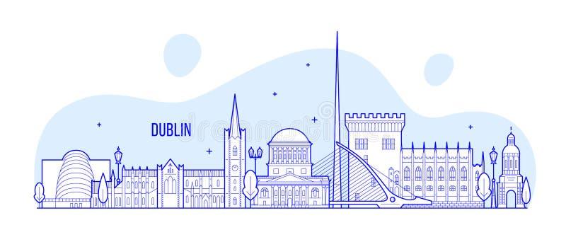 Cidade das construções do vetor da Irlanda da skyline de Dublin ilustração royalty free