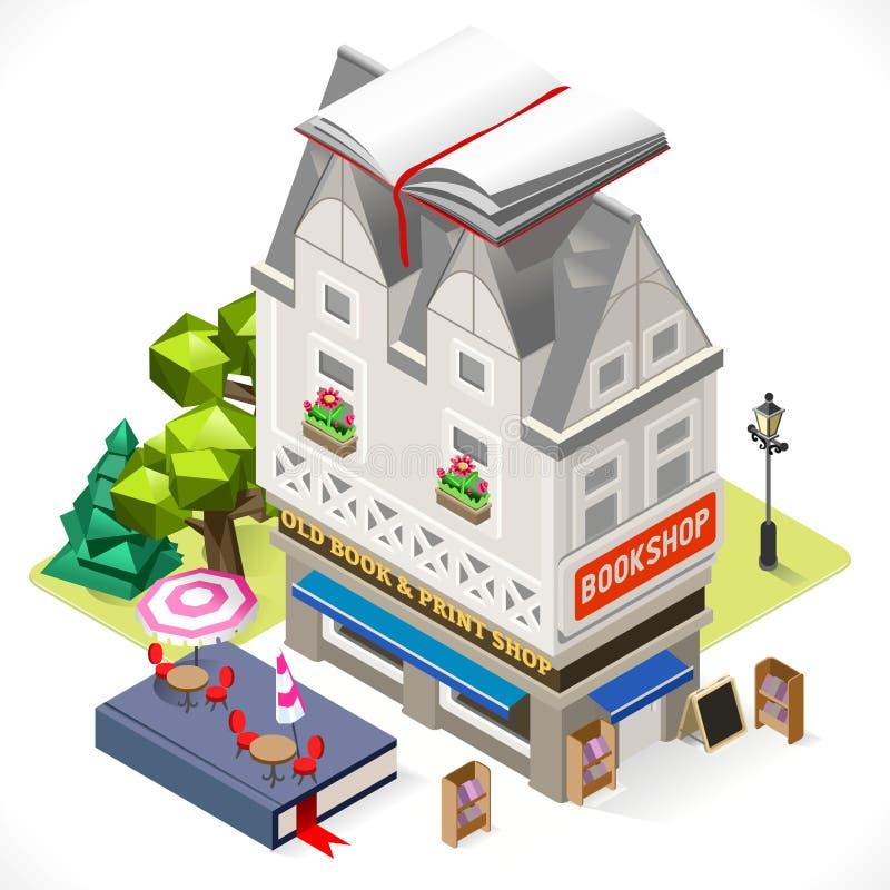Cidade das livrarias que constrói 3D isométrico ilustração stock