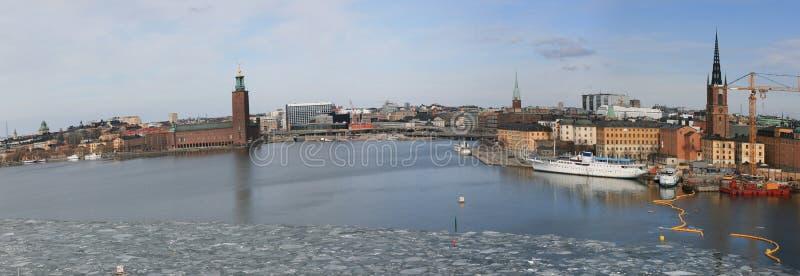 Cidade de Éstocolmo (Sweden) no inverno fotografia de stock royalty free