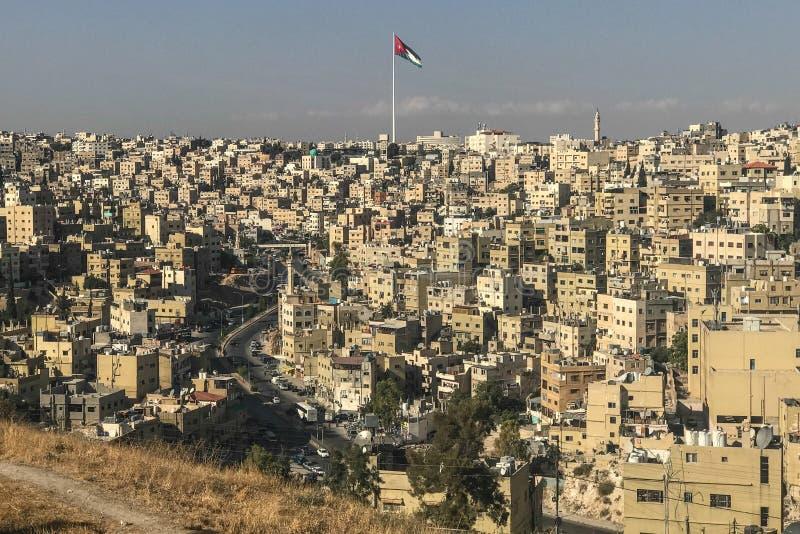Cidade de Amman Bandeira da altura jordão foto de stock royalty free