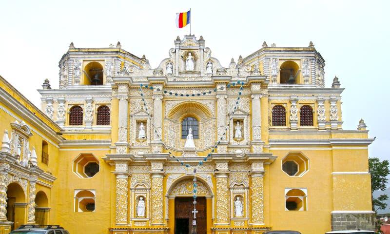 Cidade de Antígua, Guatemala Catedral de San Jose no quadrado do prefeito da plaza Local do Unesco fotografia de stock royalty free