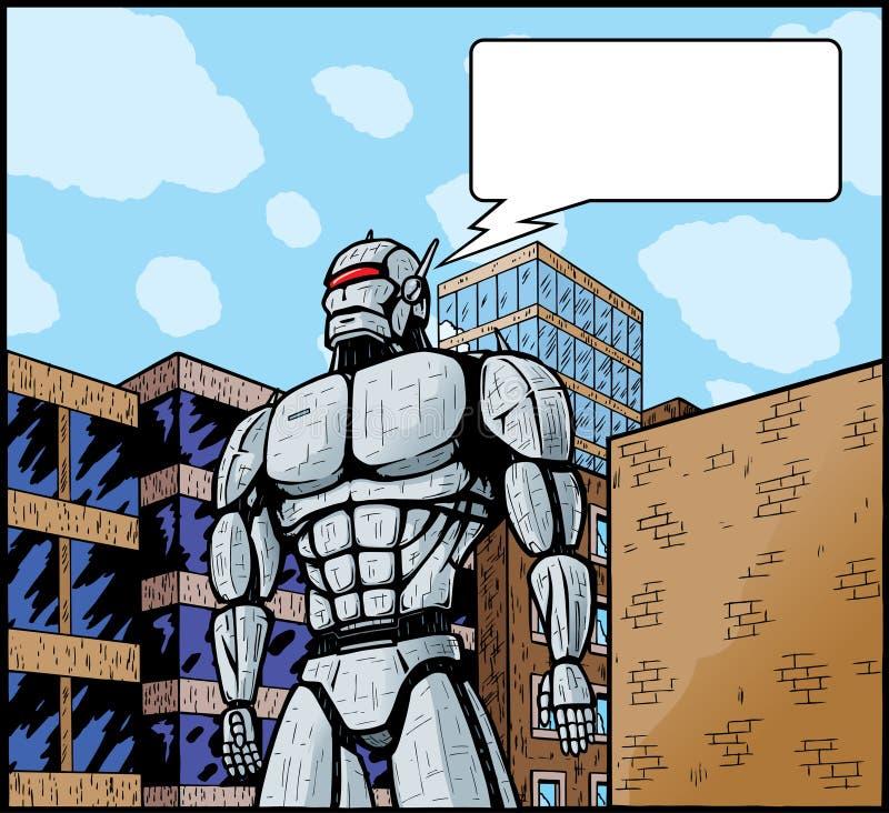 Cidade de ataque do robô gigante. ilustração royalty free