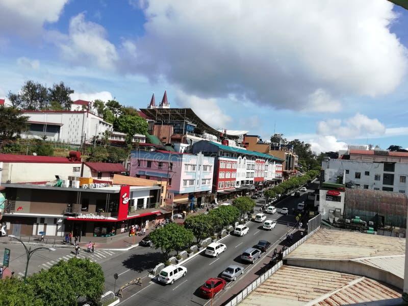 Cidade de Baguio da estrada da sessão fotografia de stock