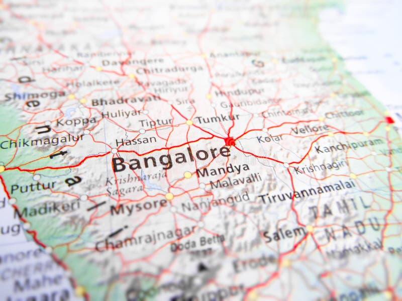Cidade de Bangalore sobre uma Índia do mapa de estradas fotos de stock