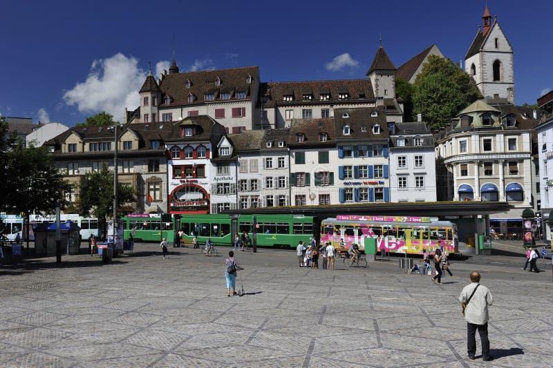 Cidade de Basileia, Barfuesserplatz, Suíça imagem de stock