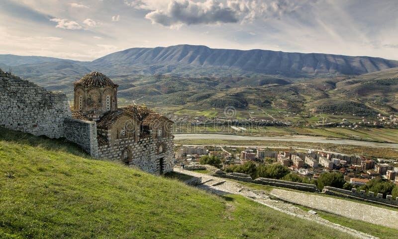 Cidade de Berati, Albânia fotos de stock
