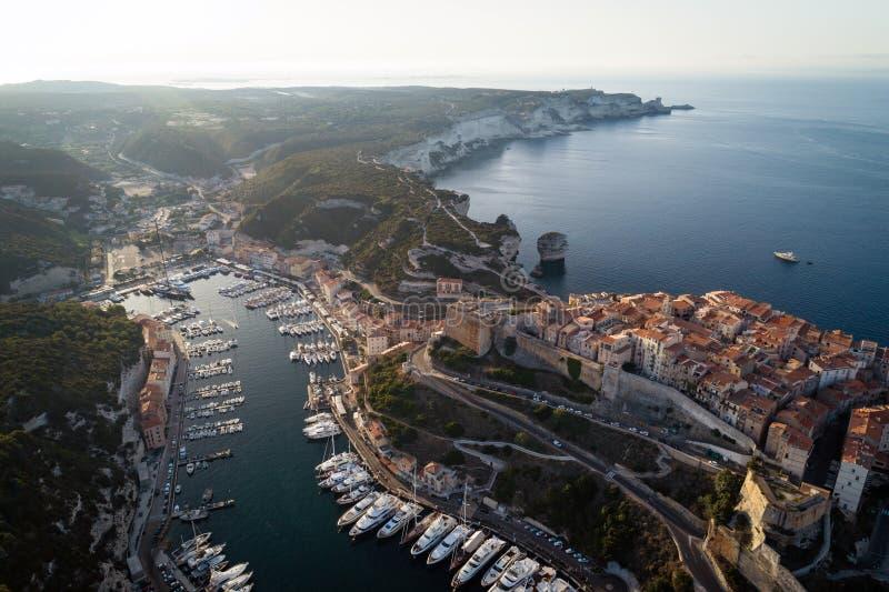 Cidade de Bonifacio, ilha de Córsega, França fotografia de stock