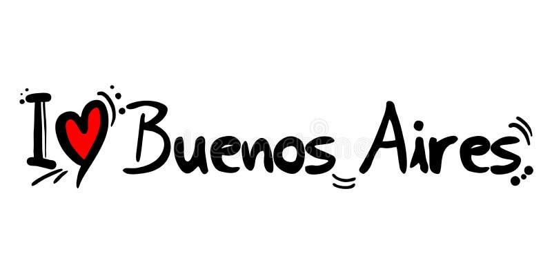 Cidade de Buenos Aires da mensagem do amor de Argentina ilustração stock