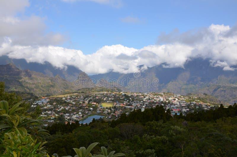 A cidade de Cilaos, Reunion Island, França fotos de stock royalty free