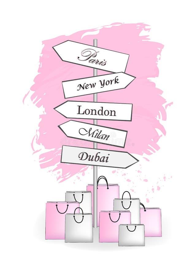 Cidade de compra cor-de-rosa dos sinais de estrada isolada no vetor branco do vertical do fundo ilustração stock