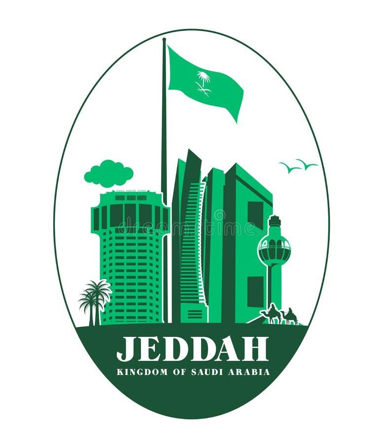 Cidade de construções famosas de Jeddah Arábia Saudita ilustração royalty free