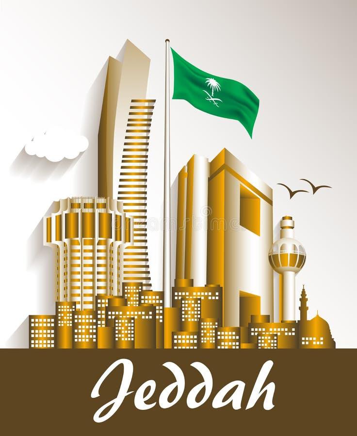 Cidade de construções famosas de Jeddah Arábia Saudita ilustração stock