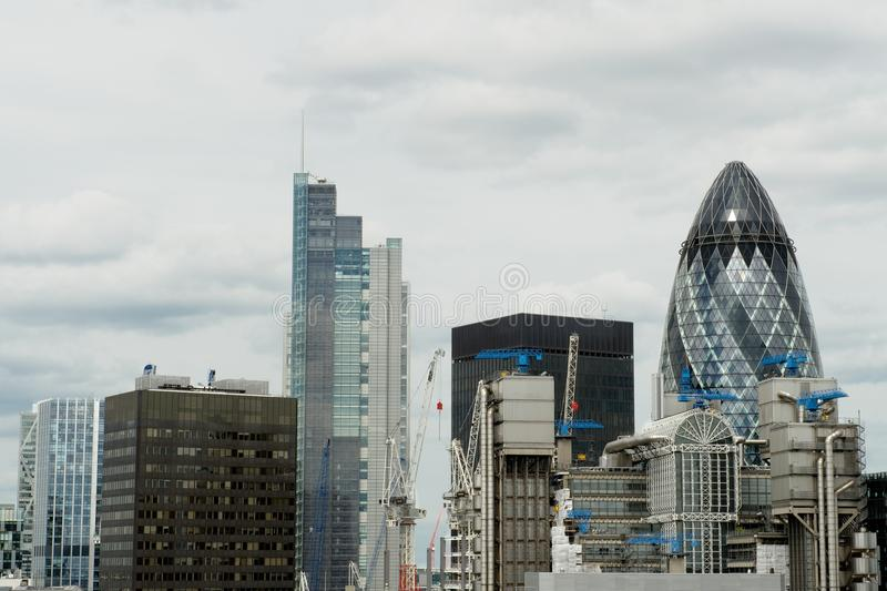 Cidade de edifícios de Londres (distrito financeiro), Reino Unido fotografia de stock royalty free
