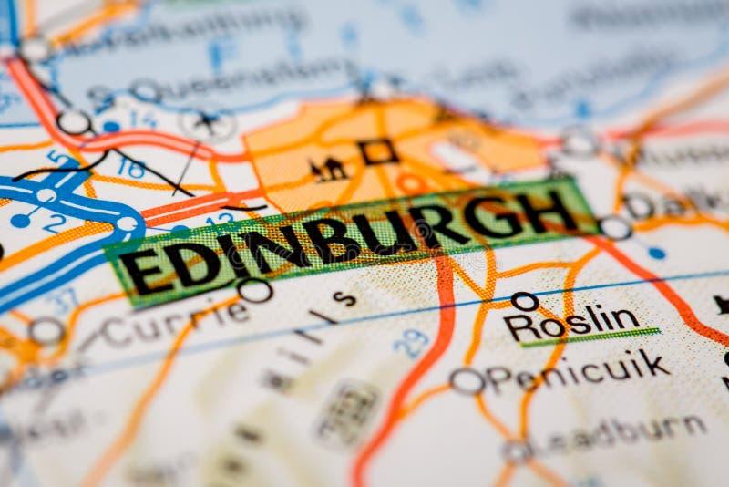 Cidade de Edimburgo em um mapa de estradas imagens de stock royalty free
