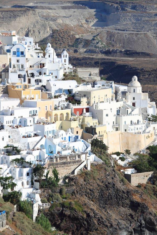 Cidade de Fira no console de Santorini imagens de stock
