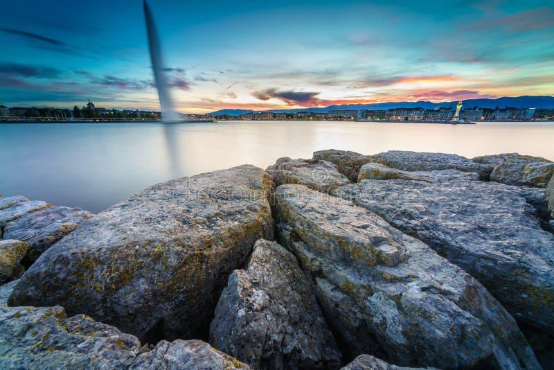 A cidade de Genebra, Suíça fotografia de stock