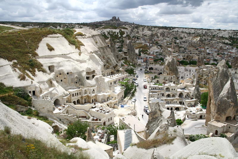 Paisagem da cidade de Cappadocian fotos de stock