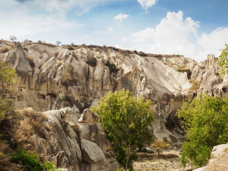 A cidade de Goreme, os locais de Cappadocia, prov?ncia da caverna da rocha de Nevsehir, Anatolia Region central de Turquia imagem de stock