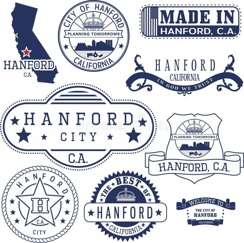 Cidade de Hanford, CA Selos e sinais ilustração do vetor