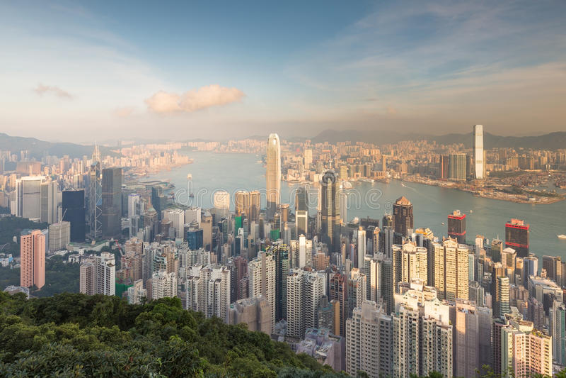 Cidade de Hong Kong do centro do ponto de vista máximo imagem de stock royalty free
