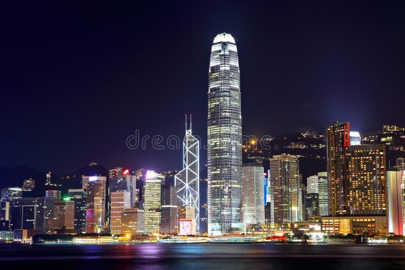 Cidade de Hong Kong na noite fotos de stock