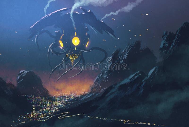Cidade de invasão da noite do navio estrangeiro ilustração stock