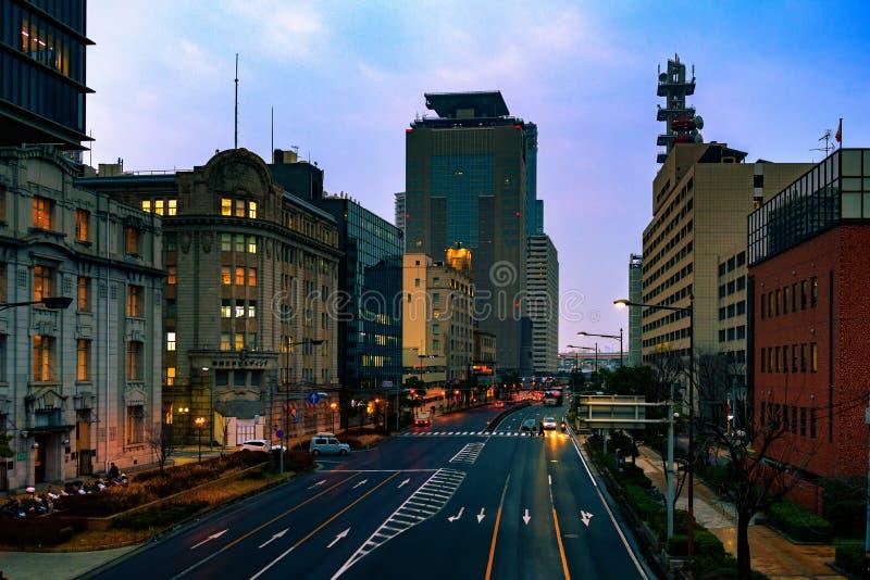 A cidade de Kobe na hora azul fotos de stock