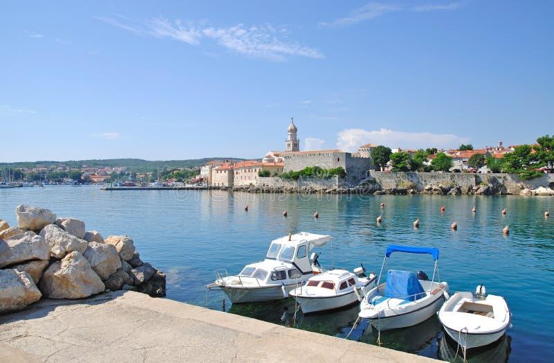 Cidade de Krk, console de Krk, Croatia foto de stock royalty free