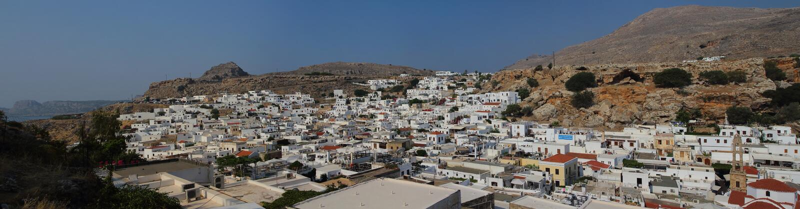 Cidade de Lindos no Rodes, Grécia fotos de stock