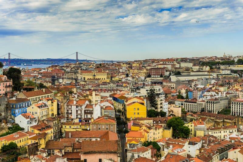 Cidade de Lisboa em Portugal, vista de cima de fotografia de stock