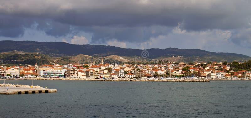 Cidade de Lixouri em Greece fotografia de stock royalty free