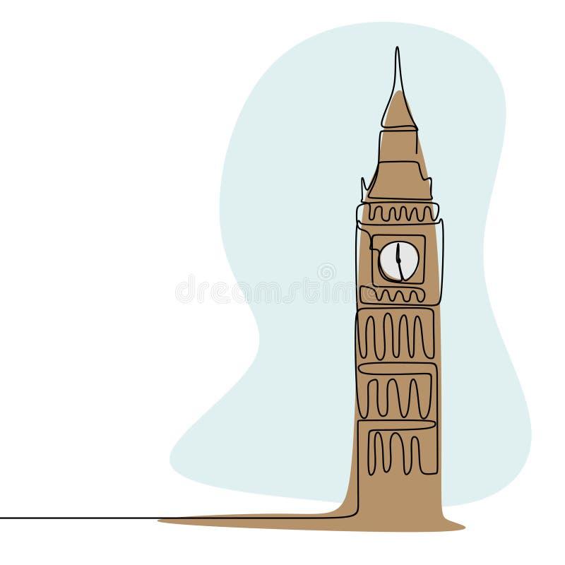 Cidade de Londres do a lápis contínuo estilo da torre de pulso de disparo de Westminster Big Ben do minimalismo do desenho com il ilustração stock