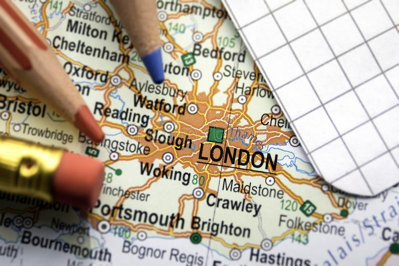 Cidade de Londres de Grâ Bretanha no centro do mapa geográfico foto de stock