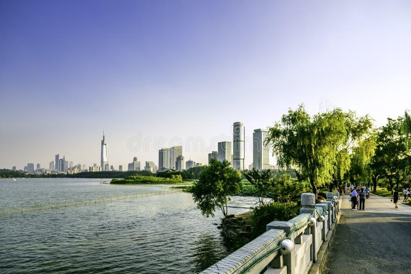 Cidade de Lotus e de Nanjin fotografia de stock