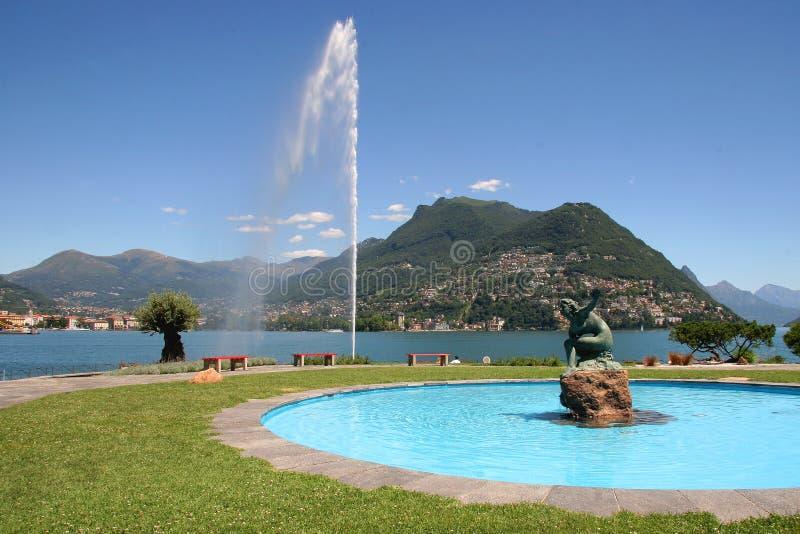 Cidade de Lugano, switzerland foto de stock royalty free