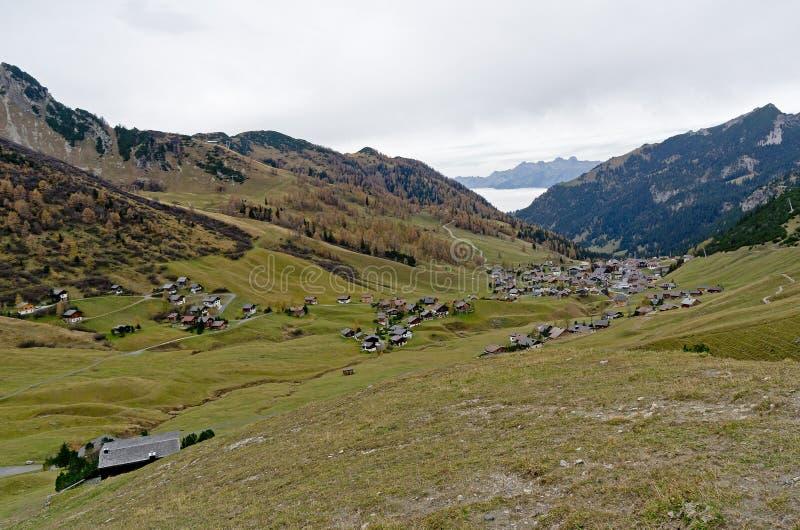 Cidade de Malbun em Lichtenstein imagens de stock