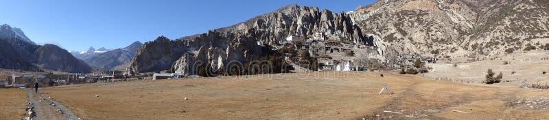 Cidade de Manang no circuito de Annapurna, Himalaya, fotografia de stock royalty free