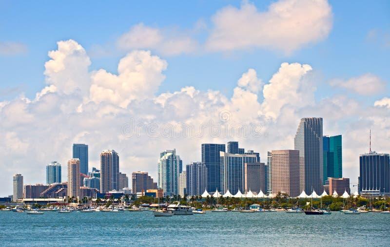 Cidade de Miami Florida, panorama do verão de construções do centro imagens de stock royalty free