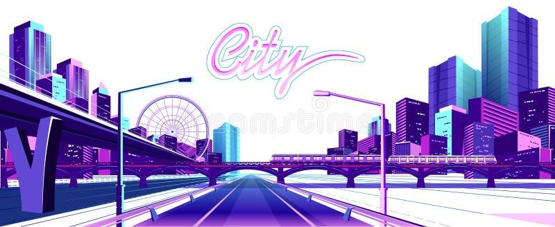 Cidade de néon no fundo branco ilustração do vetor