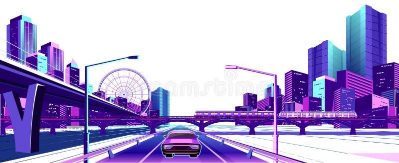 Cidade de néon no fundo branco ilustração stock