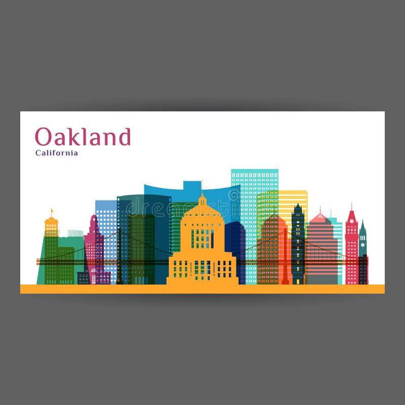 Cidade de Oakland, silhueta da arquitetura de Califórnia ilustração royalty free