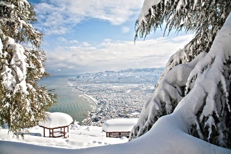 Cidade de Ordu no inverno foto de stock royalty free