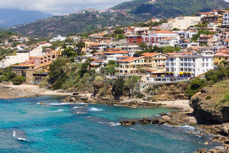 Cidade de Palinuro, Salerno, Itália imagem de stock