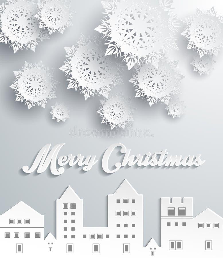 Cidade de papel do quadro Feliz Natal ilustração do vetor