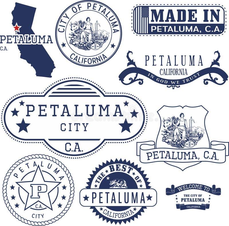 Cidade de Petaluma, CA Selos e sinais ilustração stock