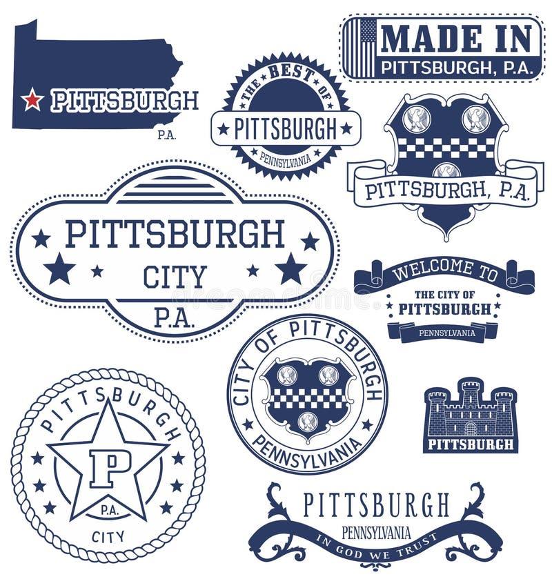 Cidade de Pittsburgh, PA, selos genéricos e sinais ilustração stock