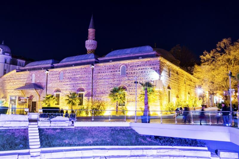 A cidade de Plovdiv - cena da noite fotos de stock royalty free