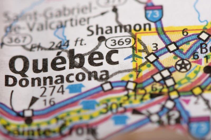 Cidade de Quebec no mapa imagem de stock